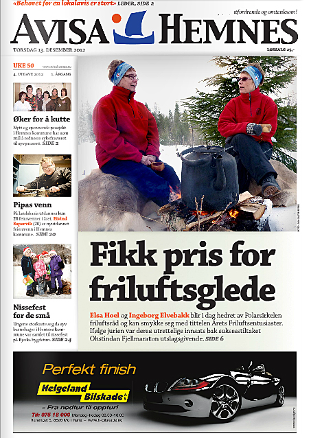 Forsida på Avisa Hemnes nr. 4 2012.