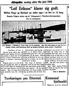 Under veis. Aftenposten 9.06.1926