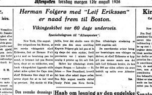 Framma! Aftenposten 12.08.1926.