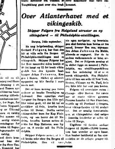 Følgerø forbrerder ferden. Aftenposten 15.09.1925.