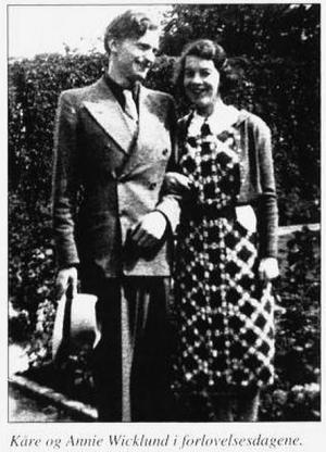 Annie og Kåre Wicklund i forlovelsesdagene. Bilde fra boka Hemnes i krig 1940-45